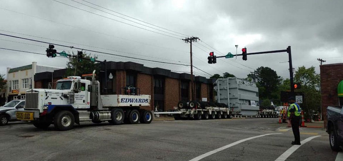 Large transformer travels through downtown Conway technology